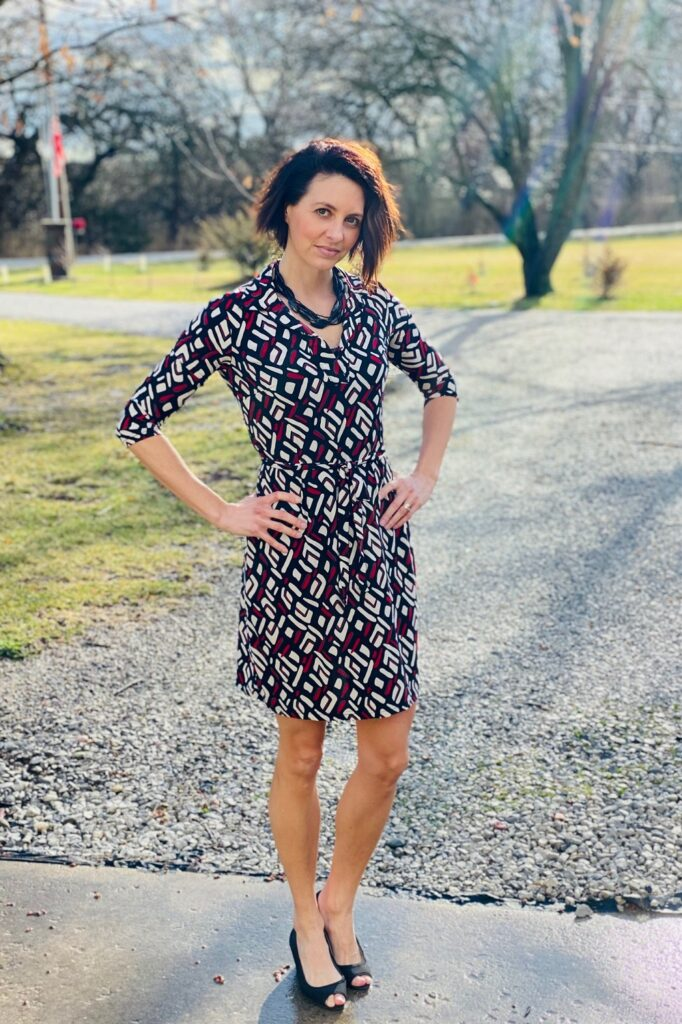 Workwear - red patterned dress