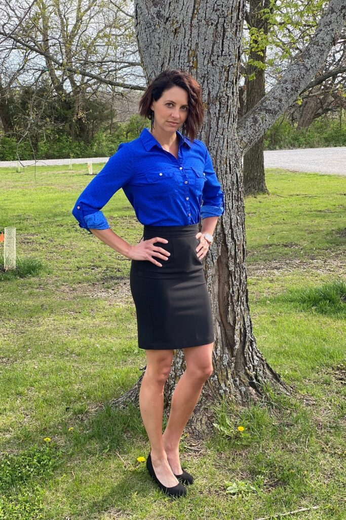 workwear blue button down